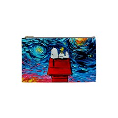 Dog Painting Stary Night Vincet Van Gogh Parody Cosmetic Bag (small)