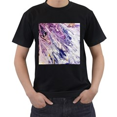 Marble Pattern Texture Men s T Shirt (black) (two Sided)