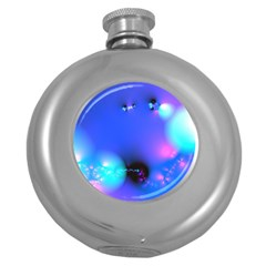 Love In Action, Pink, Purple, Blue Heartbeat Round Hip Flask (5 Oz)