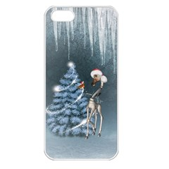 Christmas, Cute Giraffe With Bird Apple Iphone 5 Seamless Case (white)