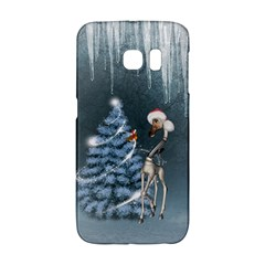 Christmas, Cute Giraffe With Bird Samsung Galaxy S6 Edge Hardshell Case by FantasyWorld7