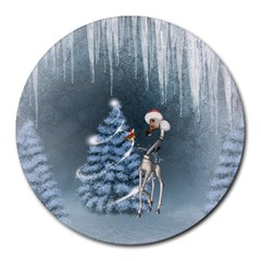Christmas, Cute Giraffe With Bird Round Mousepads by FantasyWorld7