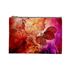 Flower Power, Colorful Floral Design Cosmetic Bag (large) by FantasyWorld7