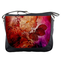 Flower Power, Colorful Floral Design Messenger Bag by FantasyWorld7