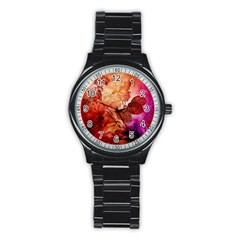 Flower Power, Colorful Floral Design Stainless Steel Round Watch by FantasyWorld7