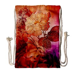 Flower Power, Colorful Floral Design Drawstring Bag (large) by FantasyWorld7