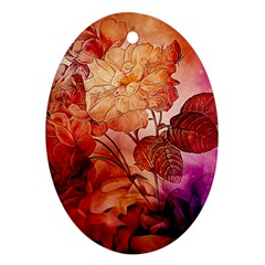 Flower Power, Colorful Floral Design Ornament (oval) by FantasyWorld7