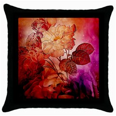 Flower Power, Colorful Floral Design Throw Pillow Case (black) by FantasyWorld7