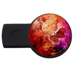 Flower Power, Colorful Floral Design Usb Flash Drive Round (4 Gb) by FantasyWorld7