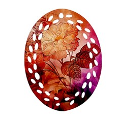 Flower Power, Colorful Floral Design Oval Filigree Ornament (two Sides) by FantasyWorld7