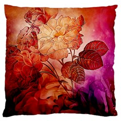 Flower Power, Colorful Floral Design Large Cushion Case (two Sides) by FantasyWorld7