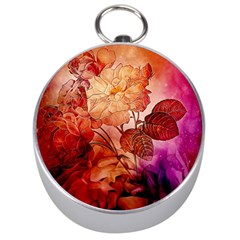 Flower Power, Colorful Floral Design Silver Compasses by FantasyWorld7