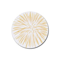 Yellow Firework Transparent Rubber Round Coaster (4 Pack)  by Mariart