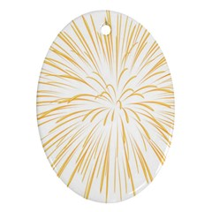 Yellow Firework Transparent Oval Ornament (two Sides) by Mariart