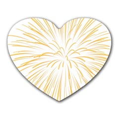 Yellow Firework Transparent Heart Mousepads by Mariart