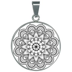 Star Flower Mandala 30mm Round Necklace by Jojostore
