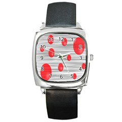 Red Dot Bubbles Square Metal Watch by AnjaniArt