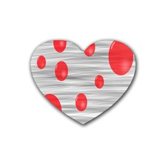 Red Dot Bubbles Rubber Coaster (heart)