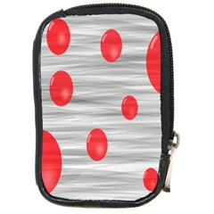 Red Dot Bubbles Compact Camera Leather Case by AnjaniArt