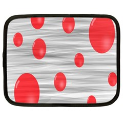 Red Dot Bubbles Netbook Case (xl) by AnjaniArt