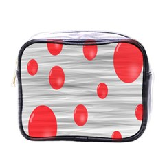 Red Dot Bubbles Mini Toiletries Bag (one Side) by AnjaniArt