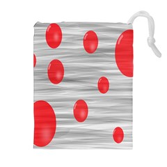 Red Dot Bubbles Drawstring Pouch (xl) by AnjaniArt