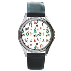 Christmas Tree Pattern Material Round Metal Watch by AnjaniArt