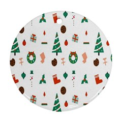 Christmas Tree Pattern Material Ornament (round)