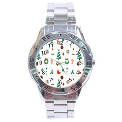 Christmas Tree Pattern Material Stainless Steel Analogue Watch