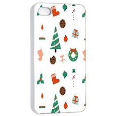 Christmas Tree Pattern Material Apple Iphone 4/4s Seamless Case (white)