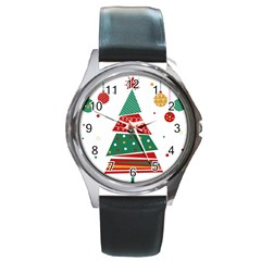 Christmas Tree Decorated Round Metal Watch by AnjaniArt