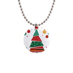 Christmas Tree Decorated 1  Button Necklace