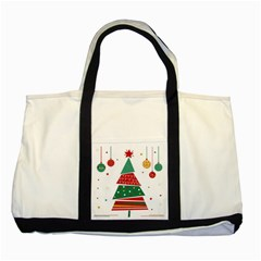 Christmas Tree Decorated Two Tone Tote Bag