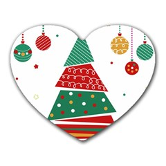 Christmas Tree Decorated Heart Mousepads by AnjaniArt