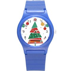 Christmas Tree Decorated Round Plastic Sport Watch (s)