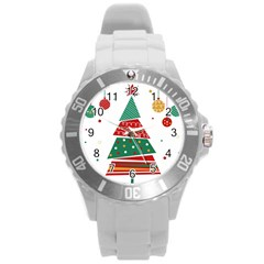Christmas Tree Decorated Round Plastic Sport Watch (l) by AnjaniArt