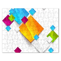 Colorful Abstract Geometric Squares Rectangular Jigsaw Puzzl by Alisyart