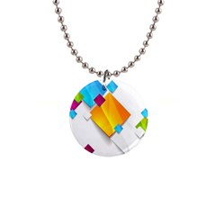Colorful Abstract Geometric Squares 1  Button Necklace