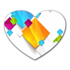 Colorful Abstract Geometric Squares Heart Mousepads
