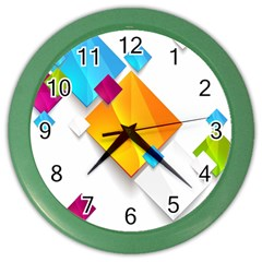 Colorful Abstract Geometric Squares Color Wall Clock
