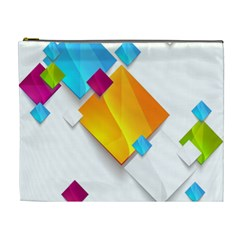Colorful Abstract Geometric Squares Cosmetic Bag (xl)