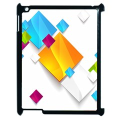 Colorful Abstract Geometric Squares Apple Ipad 2 Case (black) by Alisyart
