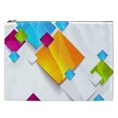 Colorful Abstract Geometric Squares Cosmetic Bag (xxl)