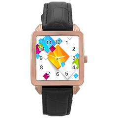 Colorful Abstract Geometric Squares Rose Gold Leather Watch