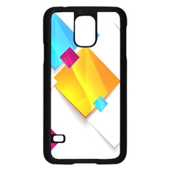 Colorful Abstract Geometric Squares Samsung Galaxy S5 Case (black)