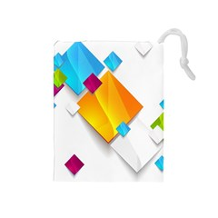 Colorful Abstract Geometric Squares Drawstring Pouch (medium)