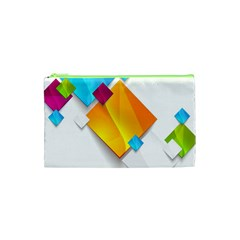 Colorful Abstract Geometric Squares Cosmetic Bag (xs)