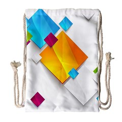 Colorful Abstract Geometric Squares Drawstring Bag (large)
