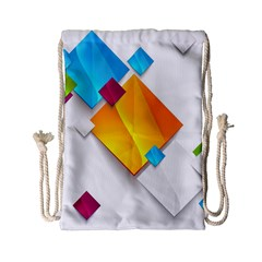 Colorful Abstract Geometric Squares Drawstring Bag (small)