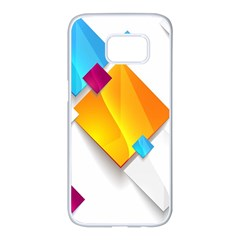 Colorful Abstract Geometric Squares Samsung Galaxy S7 Edge White Seamless Case by Alisyart